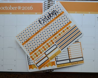October Monthly Spread Kit Planner Stickers Removable Matte  or Glossy Stickers