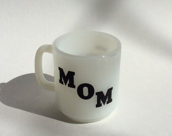 Vintage Glasbake Mom Mug, Glasbake Milk Glass Mug
