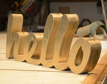 hello Word Mark Sign and Custom Engraved Shelf Sign