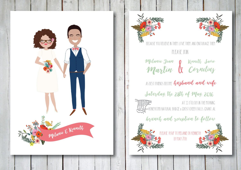 Illustrated Wedding Invitations: Custom Illustrated Wedding Invitation