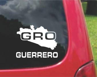 2 Pieces Guerrero Mexico Outline Map  Stickers Decals 20 Colors To Choose From.  U.S.A Free Shipping