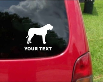 Set (2 Pieces) Bullmastiff Dog  Sticker Decals with custom text 20 Colors To Choose From.  U.S.A Free Shipping