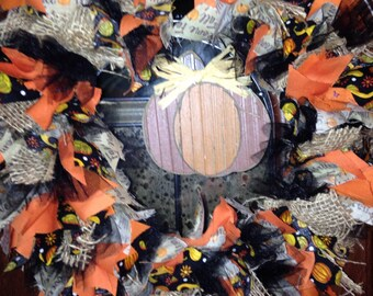 SALE!Fall Pumpkin Handmade Rag Wreath- nice!