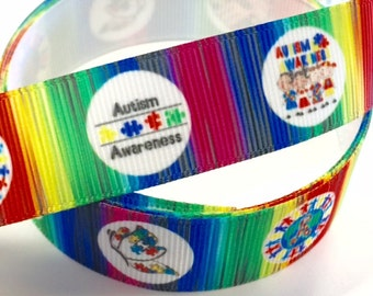 7/8 inch Autism Awareness - Peace Heart White - Printed Grosgrain Ribbon for Hair Bow