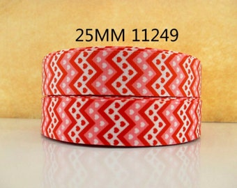 1 inch red and pink HEART chevron  heARTS Printed Grosgrain ribbon