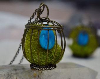 Robin Egg Birdcage Howlite Moss Necklace