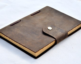 Handmade Personalized leather notebook  Leather journal book(Free Stamp)