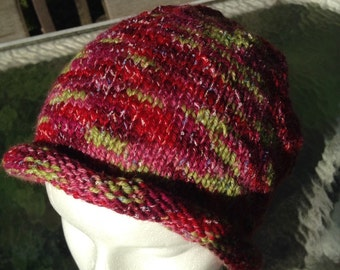 Varigated wool and acrylic yarn slouchy hat