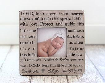 Baptism Gift Personalized Picture Frame Godchild Godson Goddaughter Baptism Christening Dedication Baby GIFT Prayer