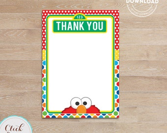 Elmo Thank you card, Note card, Thank you note Printable Birthday party decorations, Party supplies, INSTANT Download