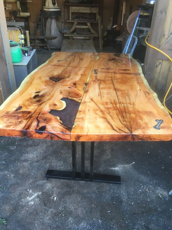 LIve Edge Yew Dining Room Table With Clear Epoxy Finish