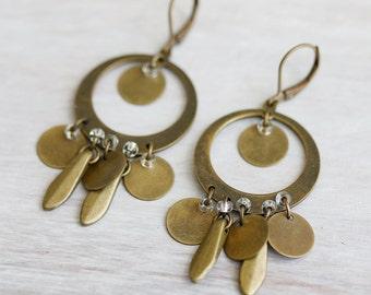 Brass Circle Chandelier Earrings, Handmade Earrings.