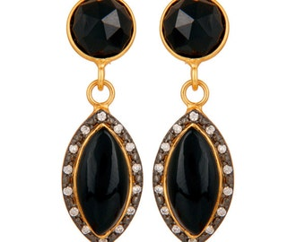 Natural Black Onyx Gold Plated 925 Solid Silver Dangle Earrings With White CZ, Onyx Jewelry, Gold Vermeil Jewelry