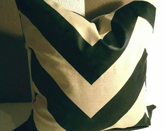 "22""x22"" Hand-Painted Chevron Pillow Cover"