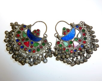 Tribal Kuchi Earrings, vintage, with Colored Glassjewels