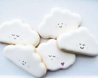 13 Cloud Cookies, Cloud Sugar Cookies, Cloud Party Theme, Cloud Gift Ideas, Cloud Theme, Cute Clouds, Baby Shower Cookies, Cute Cookies