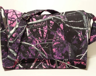 Muddy Girl camo crossbody bag, muddy girl camo bag, purple muddy girl purse, personalized camo bag