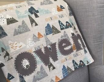 Personalized Baby Boy Blanket, Monogrammed Receiving Blanket