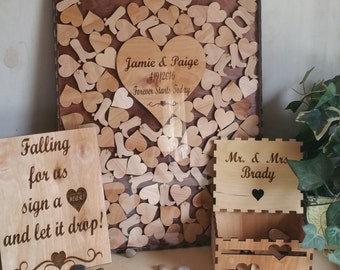Wedding guestbook alternative with boots and hearts