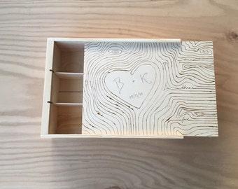 Custom Three Bottle Wooden Wine Box- Wood Grain Design