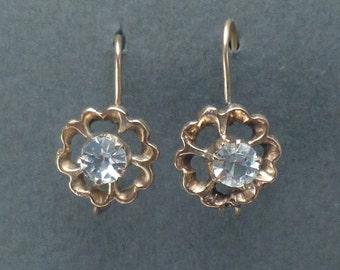 14K gold white sapphire earrings