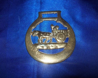 Vintage Horse Brass Horse and Cart