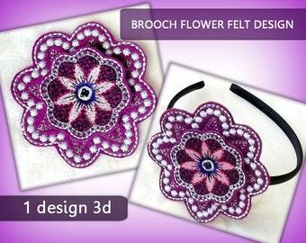 Brooch Flower felt 3D violet No.46 - 4x4 hoop - Machine embroidery digitization./INSTANT DOWNLOAD