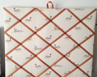 Hand made Fabric Notice Board In Sophie Allport Fabric Hare Fabric