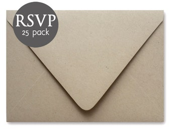 "Kraft Wedding RSVP Envelopes - 25 Pack - Kraft Response Card Envelopes - Kraft Envelope - 4BAR - 3.5"" x 5"""