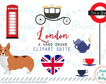 London Themed Clipart Suite , Digital Scrapbooking Resources , Corgi Big Ben Tower Bridge Quirky Red Bus Sign Red Blue UK British England