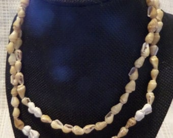 """Light Brown and white  shell necklace 17"""""""