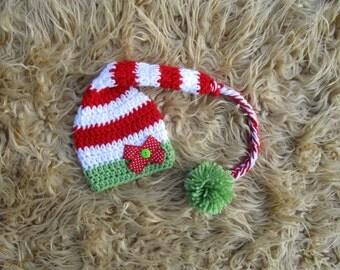 Crochet Christmas Elf Hat Baby Santa Hat Christmas Hat Crochet Hat Santa Hat Elf Crochet Hat Christmas Photo Prop Baby Santa Hat Boy