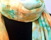Linen Shawl, Scarf, Yoga Wrap, Hand Dyed, Yellow, Green