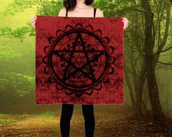 Luxury Silk Pentagram Wicca Altar Cloth or Prayer Scarf black and red  ceremony or ritual magic pagan wicca wall hanging