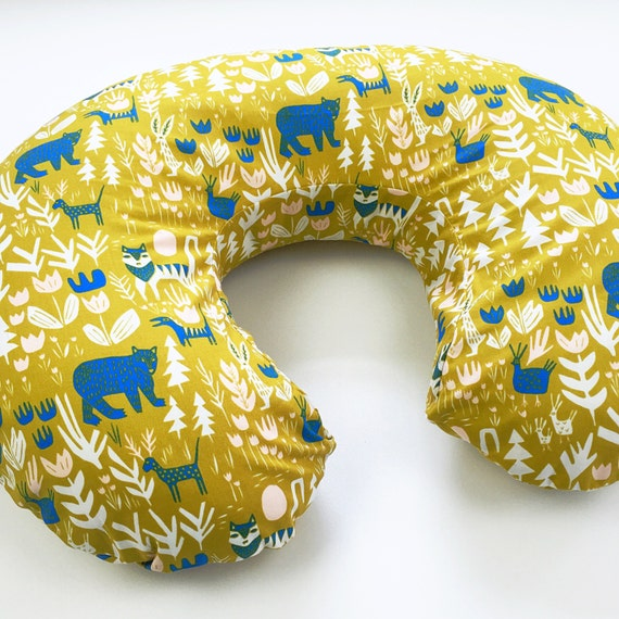 Organic Boppy Cover - 'Lore' Lions, Tigers, and Bears in Gold - MADE-to-ORDER