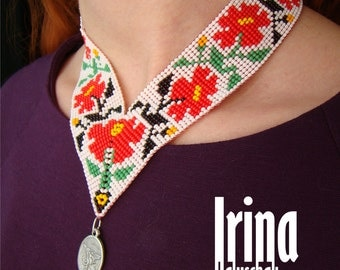 Traditional ukrainian gerdan. Beaded gerdan. Angle Gerdan with rose.