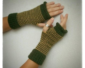 Original mittens or fingerless gloves, hand knitted with a round loom. Green and mustard color.