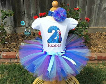 Custom Anna Elsa Frozen Tutu Outfit Birthday Tutu Set Frozen Tutu Anna Elsa Shirt and Tutu Blue Purple Tutu Any AGE and NAME Personalized