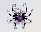 Spider ring - Beaded ring with spider - Halloween ring - Woven statement ring - Seasonal ring - Goth ring - Insect ring - Happy halloween