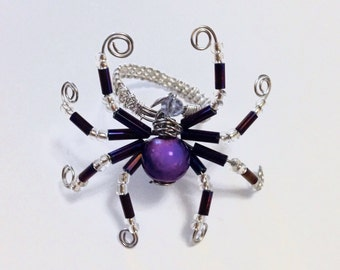 Bead Spider - Spider Bead Ring - Spider Ring - Purple Spider Ring - Black Spider Ring - Halloween Ring - Halloween Jewelry - Spider Costume