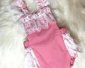 Pink and cream Lace Romper- Baby Girl Romper, vintage style lace romper, tea party Ruffle Romper, girlie lace romper