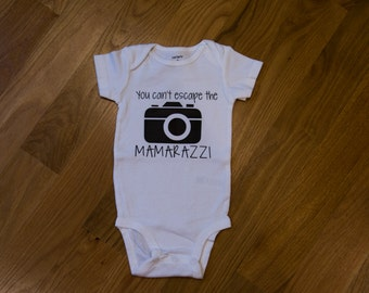 Can't escape the mamarazzi outfit, mamarazzi bodysuit, funny baby gift, cute baby clothes, boys baby bodysuit, photographer baby gift, camer