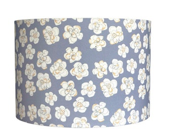 Lampshade in 'Paper Flowers' design (mustard, blue or grey, 15cm or 30cm diameter)