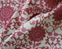 Pink fabric, Cotton Fabric, Printed Cotton, Hand Block Print, Cotton Fabric by the yard, Indian Fabric, Block Print Fabric, Natural Fabric