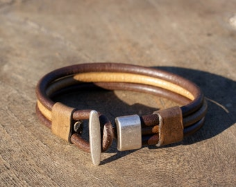 FREE SHIPPING mens leather bracelet, mens leather jewelry