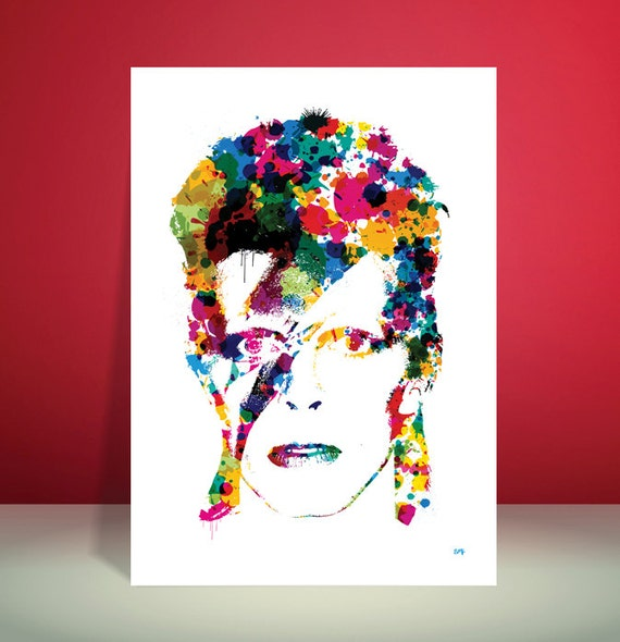 David Bowie // Ziggy Stardust // Paint Splatter Unique A4 / A3 Art Print