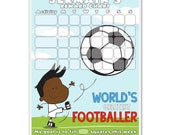 Football  Personalised Magnetic Childrens Reward Chart (b)