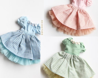 SK Couture Gingham Skirt Set for Blythe Pullip Dal Azone Licca