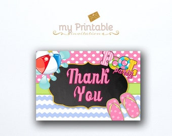 Pool Party Thank You Card / Printable / Digital / Intant Download