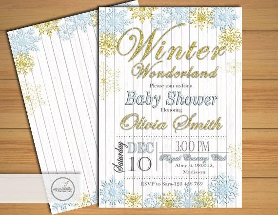 winter wonderland baby shower invitation digital printable invite